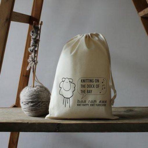 Baa ram ewe project bag knitting dock