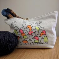 An Caitlín Beag Sinister Cats are Knitting it Real Good Project Bag Neon