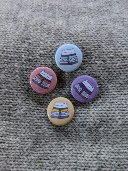 cats in cardigans badges