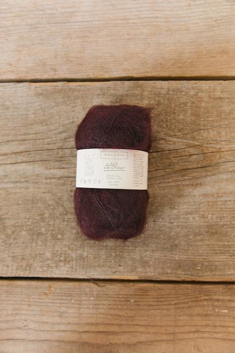 Biches & Bûches silk mohair dark burgundy grey