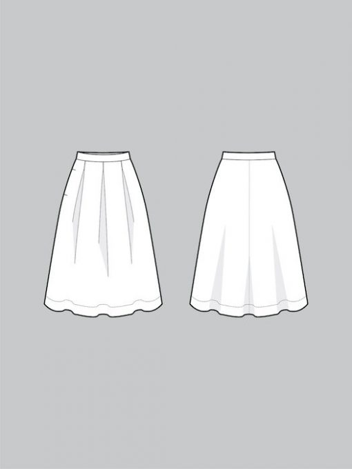 the assembly line three pleat skirt