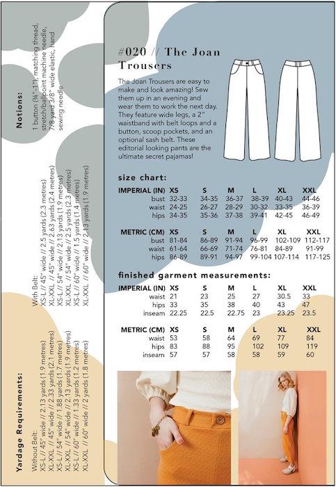 The Joan Trousers Pattern Back