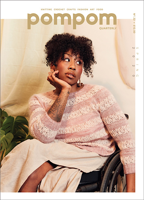 cover pom pom magazine black woman in wheelchair modelling pink striped lace sweater