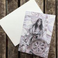 Salina Jane Art Greetings Card - Spinning Wheel