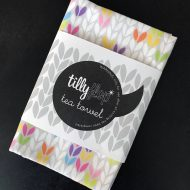 Tilly Flop Designs stocking stitch tea towel bright