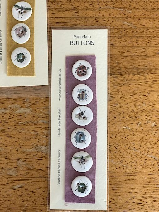 caroline barnes ceramic buttons insects purple